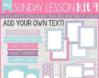 Sunday Lesson Kit 4, EDITABLE Blank Template, Handouts, Printable Lesson Planner, YW/RS, Sunday School, Bible Class - Instant Download Lisa