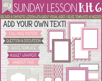 Sunday Lesson Kit 6, EDITABLE Blank Template, Handouts, Printable Lesson Planner, YW/RS, Sunday School, Bible Class - Instant Download Lisa