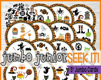 "Trick or Treat SEEK IT {5"" Jumbo Junior Edition} Match Game, Halloween Party Game, Classroom Party Game - Printable Instant Download by Lisa"