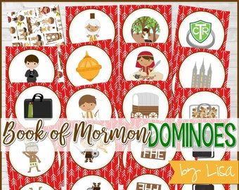 Book of Mormon DOMINOES, Primary Game, LDS Printable, Book of Mormon Games, FHE Game, Sharing Time - Printable Instant Download