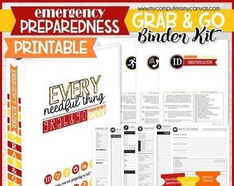 Grab & Go EMERGENCY PREPAREDNESS BINDER, Emergency Binder, Emergency Kit, Emergency Prep, Evacuation Checklist - Printable Instant Download