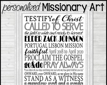 LDS Missionary Subway Art PERSONALIZED, Missionary Farewell or Homecoming Gift, Sister or Elder, Missionary Mom Gift - Printable