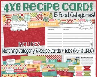 Recipe binder kit printables navy recipe book recipe etsy printable recipe cards red 4x6 recipe card kit recipe printables recipe box recipe card box recipe card dividers instant download forumfinder Choice Image