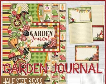 GARDENING JOURNAL, Garden Notebook, Gardner Gift Idea, Gardening Gift, Printable Garden Journal, Half Size 8.5x5.5 - Instant Download