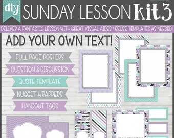 Sunday Lesson Kit 3, EDITABLE Blank Template, Handouts, Printable Lesson Planner, YW/RS, Sunday School, Bible Class - Instant Download Lisa