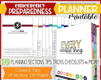 EMGERGENCY PREPAREDNESS PLANNER, Emergency Binder, Emergency Kit, Emergency Prep, Preparedness Binder, Prepper - Printable Instant Download