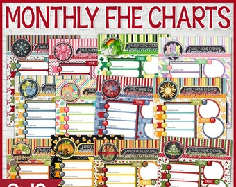 PRINTABLE FHE Charts, Monthly Family Home Evening Charts, Family Home Evening Sign, LDS, Annual Collection - Printable Instant Download