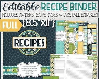 EDITABLE Recipe Binder Kit Printables (Navy), Recipe Book, Recipe Printables, Recipe Kit, Full Size, 8.5x11 - NOT INSTANT Download