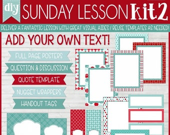 Sunday Lesson Kit 2, EDITABLE Blank Template, Handouts, Printable Lesson Planner, YW/RS, Sunday School, Bible Class - Instant Download Lisa