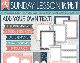 Sunday Lesson Kit 1, EDITABLE Blank Template, Handouts, Printable Lesson Planner, YW/RS, Sunday School, Bible Class - Instant Download Lisa