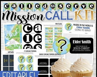 MISSION CALL Opening Kit, Called to Serve Banner, LDS Missionary Printables, Book of Mormon, Cupcake Toppers, Guess Sheet - Instant Download