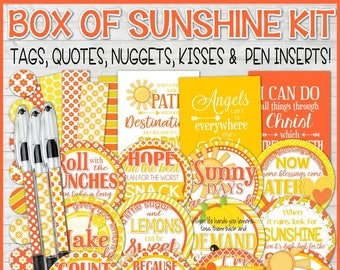 BOX of SUNSHINE Kit, Printable Gift Tags, Hello Sunshine, Encouragement Gift, Scatter Sunshine, Thinking of You - Printable Instant Download