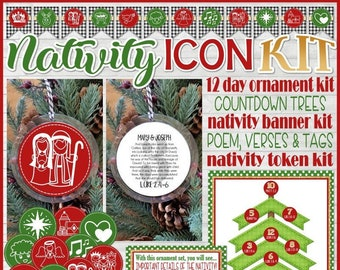 NATIVITY Ornament Set, Nativity ICONS, PRINTABLE Gift Tags, Banner, Nativity Advent, Countdown, Christmas Tree, Luke 2 - Instant Download
