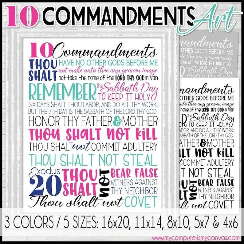 tien commdandments metro art 10 geboden exodus 20 bijbel | etsy