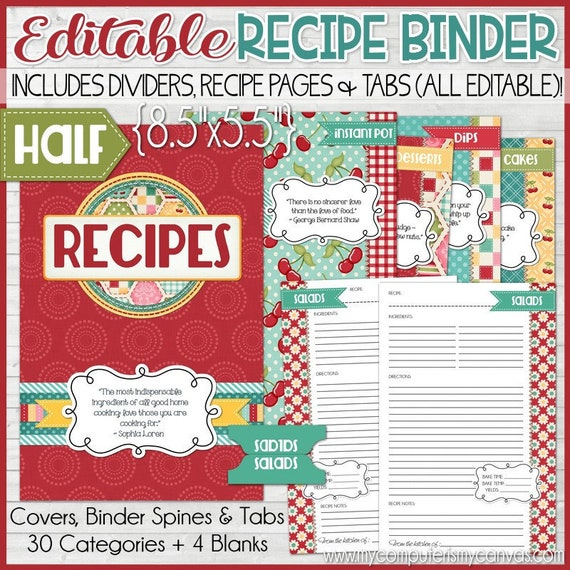 EDITABLE Recipe Binder Kit Printables Red Recipe Book