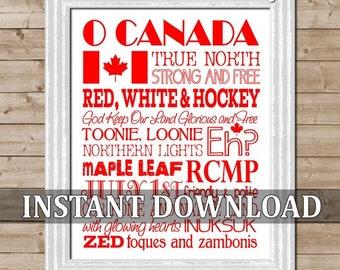 O CANADA Subway Art -  Printable Instant Download