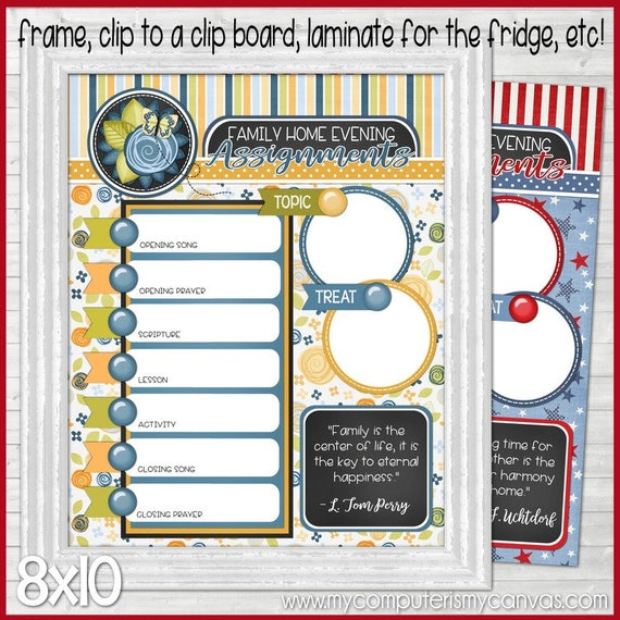 PRINTABLE FHE Charts Monthly Family Home Evening Charts | Etsy