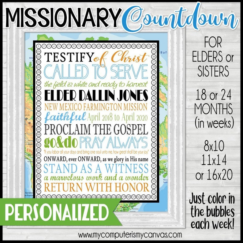 photograph relating to Printable Countdown Chart identify LDS Missionary Countdown Chart, Sister or Elder, 24 Thirty day period, 18 Thirty day period, Subway Artwork, Missionary Mother Present - Printable Custom made