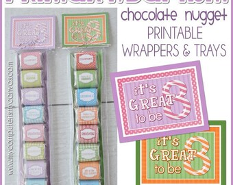 LDS Baptism PRIMARY Chocolate Nugget Wrappers, Great to Be 8 - Printable Instant Download