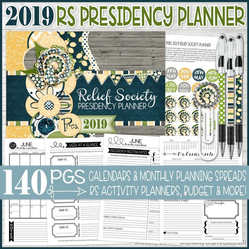 2019 RS Presidency Planner Relief Society Planner LDS | Etsy