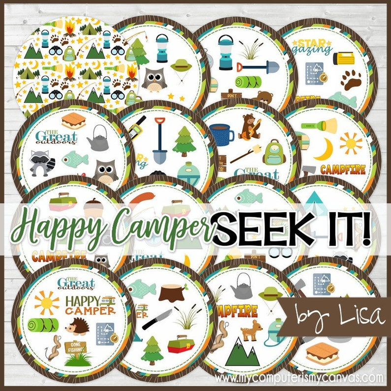 Happy Camper SEEK IT Match Game, Camping Game, Campfire Game, Girls Camp,  Cub Scout Game or Activity - Printable Instant Download by Lisa