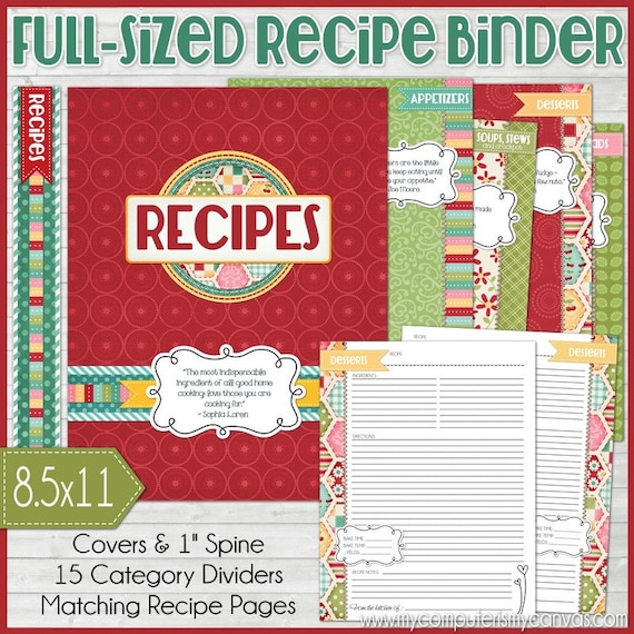 RECIPE BINDER Kit Printables RED Recipe Book Recipe