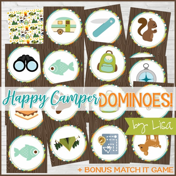 Happy Camper DOMINOES Printable Game, Camping, Campfire Game, Girls Camp,  Cub Scout Activity + BONUS Match It Game -Instant Download by Lisa