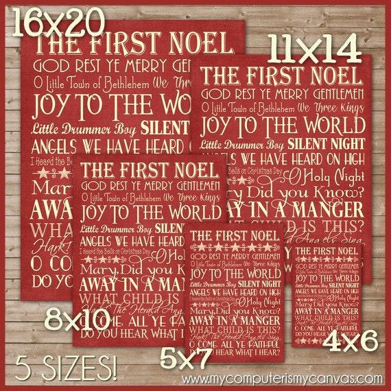 Christmas Hymns.Christmas Hymns Subway Art Printable Instant Download