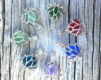 Necklace Sea Glass Lotus Flower Sterling Silver Yoga Jewelry Water Lilly Locket by Wave of LIfe™