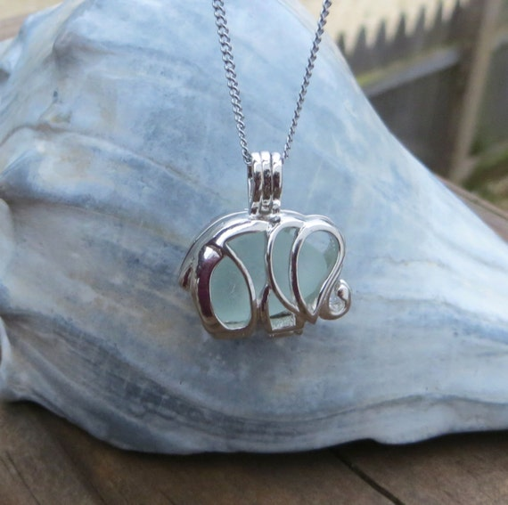 Aqua Sea Glass  Elephant Necklace Locket Frosted Pale by Wave of Life\u2122