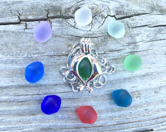 Jumping Dolphins  Sea Glass Set Colorful Sterling Silver Locket by Wave of LIfe