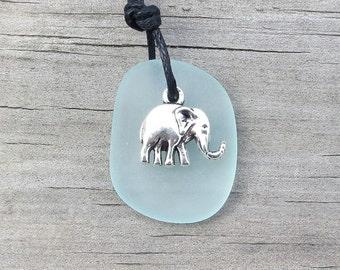 Pale Aqua Sea Glass Elephant Necklace by Wave of Life™