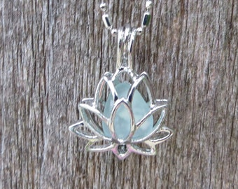 Necklace Sea Glass Lotus Flower Yoga Jewelry Water Lilly Locket Pale Aqua by Wave of LIfe™