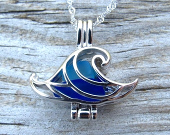 Ocean Wave Necklace Mixed Sea Glass  Caribbean Blue Cobalt Sterling Silver Locket Necklace Summer Style Boho Beach by Wave of Life™