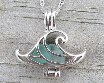 Wave Necklace Pale Aqua Sea Glass Sterling Silver Locket Necklace Summer Style Boho Beach by Wave of Life™