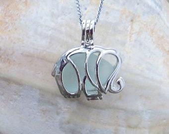 Pale Aqua Sea Glass Elephant Necklace Locket by Wave of Life™