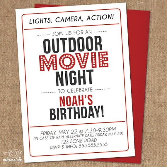 Movie Night Invitation DIY Printable Outdoor Backyard Etsy