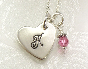 Monogrammed Heart Necklace - Personalized Hand Stamped Initial on Sterling Silver Heart Charm - For My Valentine , Girlfriend , Teenage Girl