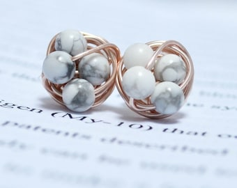 Marble and rose gold- Howlite / White Marble beads and rose gold wire- Luxe Gemstone wire wrapped petite stud earrings