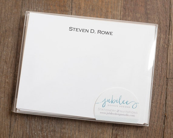 Personalized Notecard Set Professional Simple Stationery For Etsy