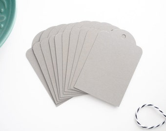 Gray Parcel Tags / Set of 10 Gift Tags / Order Labels / Neutral Gift Tags / Holiday Packaging / Packaging Tags
