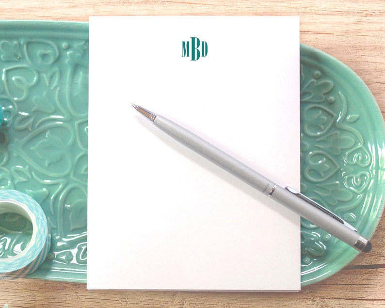 Personalized Notepad with Modern Monogram  Small Notepad with Monogram  Personal Notepad  Custom Notepad  Custom Notepad with Initials