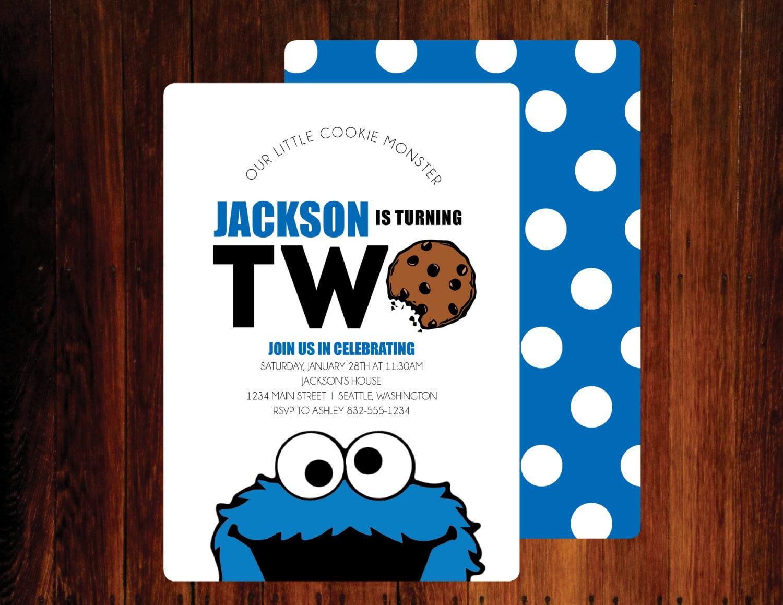 Cookie Monster Birthday Invitations set of 15 | Etsy