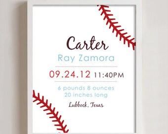 Baseball Birth Annoucement print, 8x10