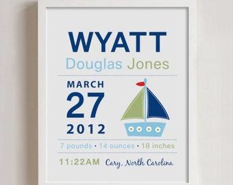 8 x 10 - Custom Birth Announcement Print - Sailboat Wall art