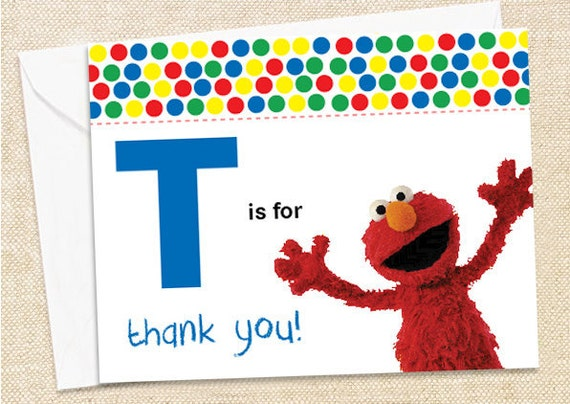 Elmo Thank You Cards Set Of 12 By Polkaprints Cards Prints