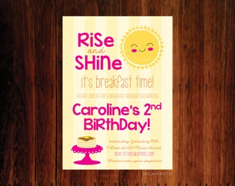 Set of 12 - Rise and Shine Pancakes and Pajamas Breakfast Birthday invitation