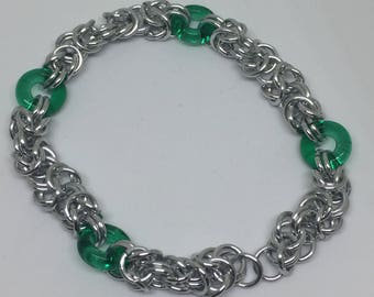 Green and Silver Chainmaille Bracelet