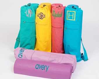 Personalized Embroidered Yoga Bag, cotton yoga bag, yoga mat bag, customizable, embroidered