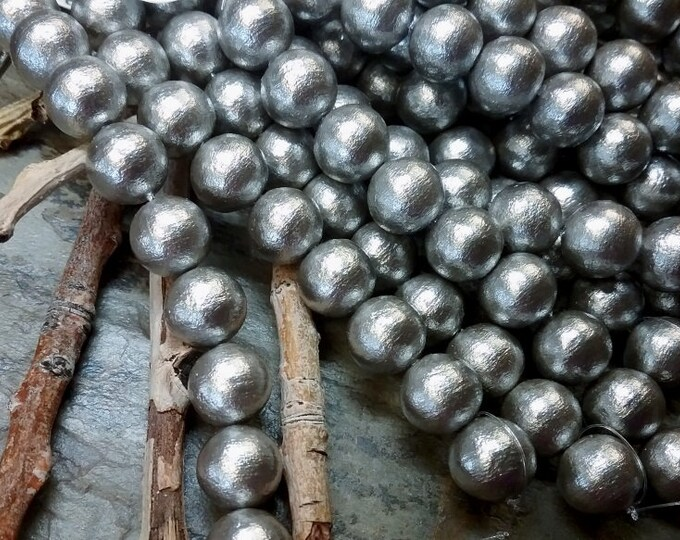 Pearls, Cotton Pearls, 10mm, Round, Grey, Silver, J688, 4 inches, 10 beads, Priced per Strand